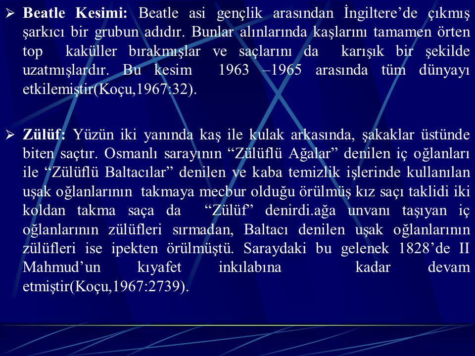  Beatle Kesimi: Beatle asi gençlik arasından İngiltere'de çıkmış şarkıcı bir grubun adıdır.