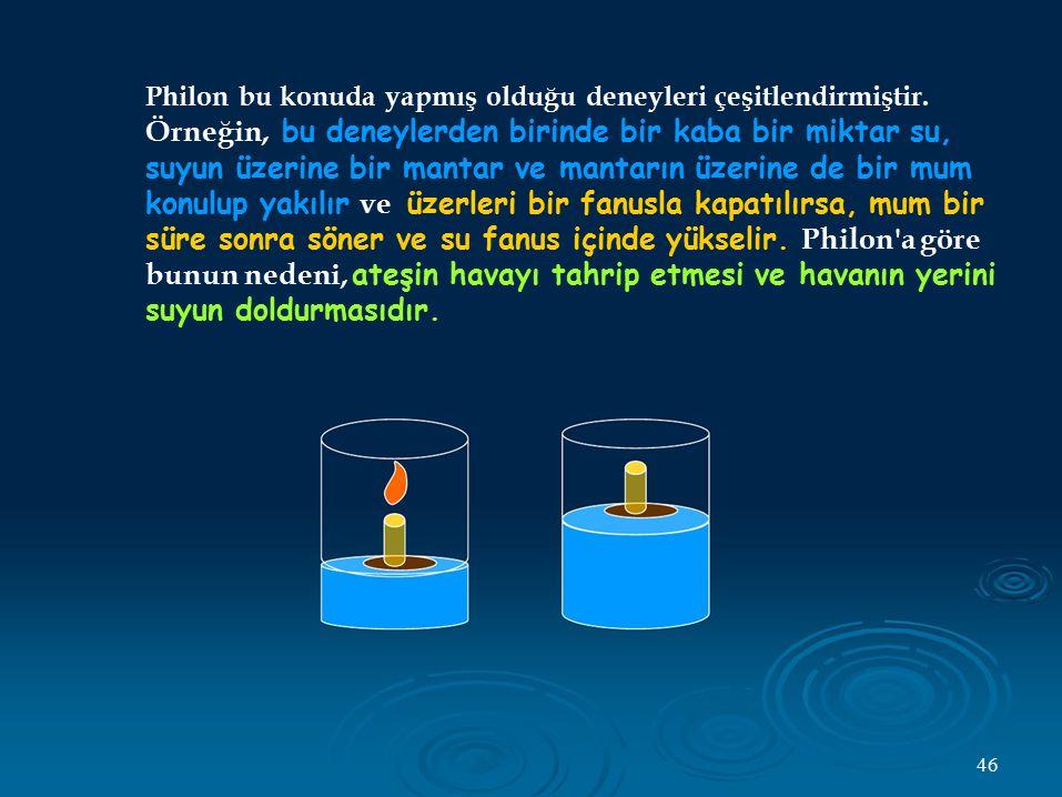 Philon bu konuda yapmış olduğu deneyleri çeşitlendirmiştir. Örneğin, bu deneylerden birinde bir kaba bir miktar su, suyun üzerine bir mantar ve mantar