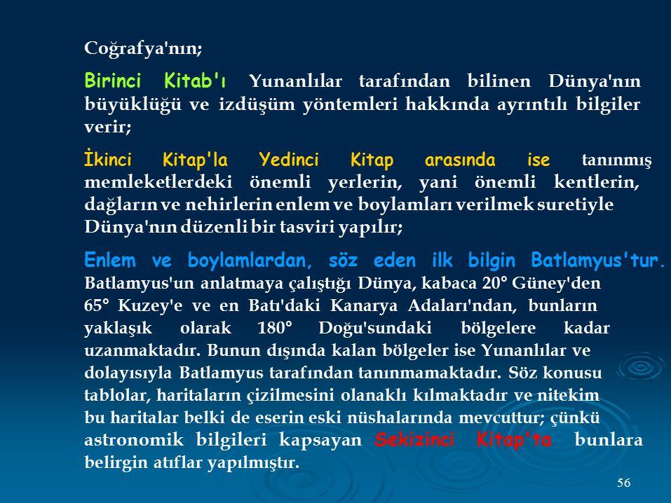 Coğrafya'nın; Birinci Kitab'ı Yunanlılar tarafından bilinen Dünya'nın büyüklüğü ve izdüşüm yöntemleri hakkında ayrıntılı bilgiler verir; İkinci Kitap'