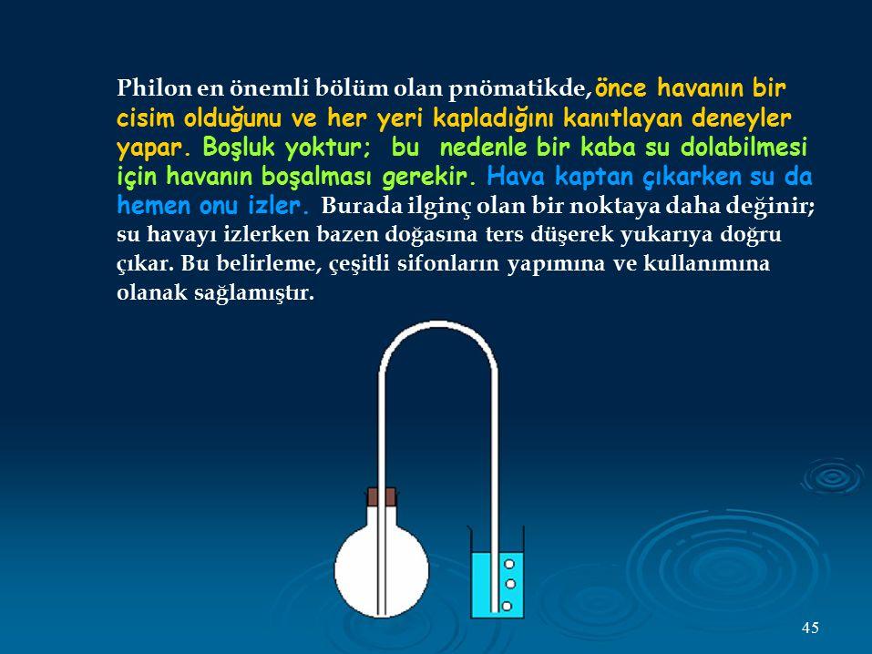 Philon en önemli bölüm olan pnömatikde, önce havanın bir cisim olduğunu ve her yeri kapladığını kanıtlayan deneyler yapar. Boşluk yoktur; bu nedenle b
