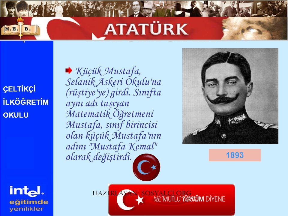 Küçük Mustafa, Selanik Askeri Okulu'na (rüştiye'ye) girdi. Sınıfta aynı adı taşıyan Matematik Öğretmeni Mustafa, sınıf birincisi olan küçük Mustafa'nı