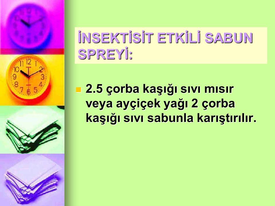 İNSEKTİSİT ETKİLİ SABUN SPREYİ: 2.5 çorba kaşığı sıvı mısır veya ayçiçek yağı 2 çorba kaşığı sıvı sabunla karıştırılır.