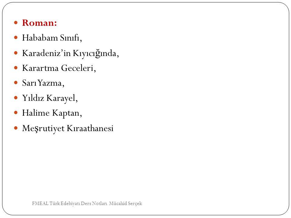 Roman: Hababam Sınıfı, Karadeniz'in Kıyıcı ğ ında, Karartma Geceleri, Sarı Yazma, Yıldız Karayel, Halime Kaptan, Me ş rutiyet Kıraathanesi FMEAL Türk