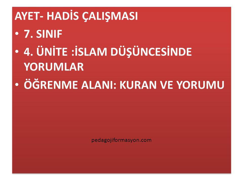 AYET- HADİS ÇALIŞMASI 7.SINIF 4.