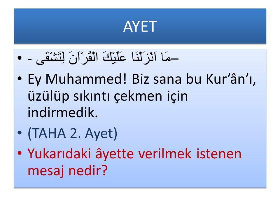 AYET - مَا اَنْزَلْنَا عَلَيْكَ الْقُرْاَنَ لِتَشْقَى – Ey Muhammed! Biz sana bu Kur'ân'ı, üzülüp sıkıntı çekmen için indirmedik. (TAHA 2. Ayet) Yukar