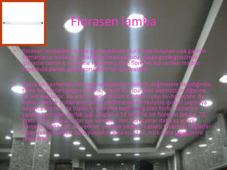 Florasen lamba floresan lambaların içinde gaz sayesinde olur.icinde bulunan civa gazının flamanlarca isitilarak buharlaştirilmasi sonucu oluşan gozle