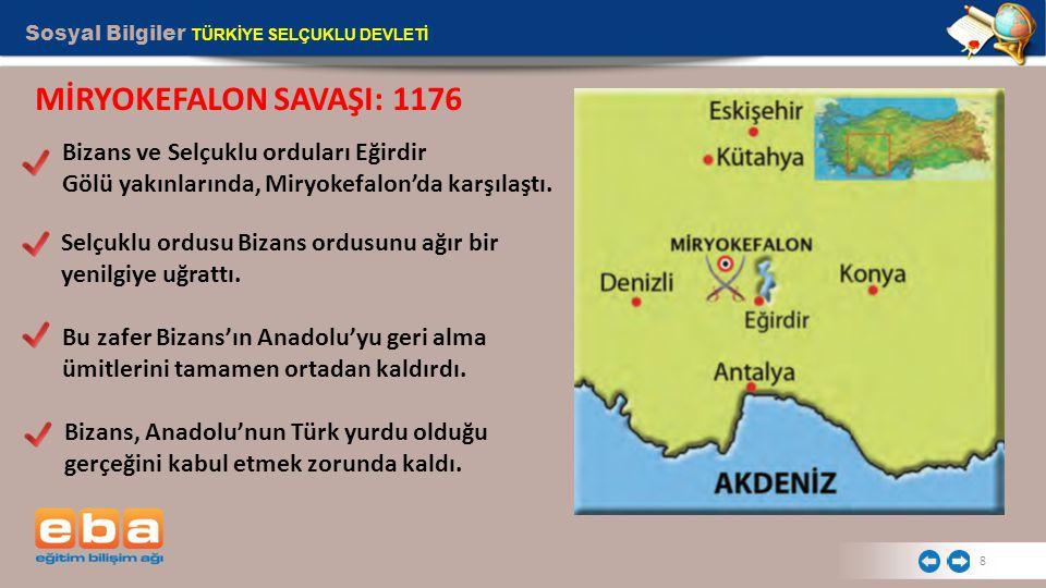 Sosyal Bilgiler TÜRKİYE SELÇUKLU DEVLETİ 8 MİRYOKEFALON SAVAŞI: 1176 Bizans ve Selçuklu orduları Eğirdir Gölü yakınlarında, Miryokefalon'da karşılaştı.