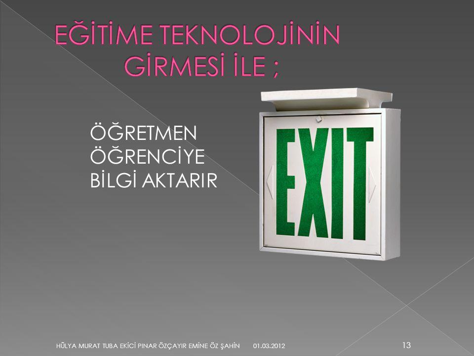 ÖĞRETMEN ÖĞRENCİYE BİLGİ AKTARIR 13 HÜLYA MURAT TUBA EKİCİ PINAR ÖZÇAYIR EMİNE ÖZ ŞAHİN 01.03.2012