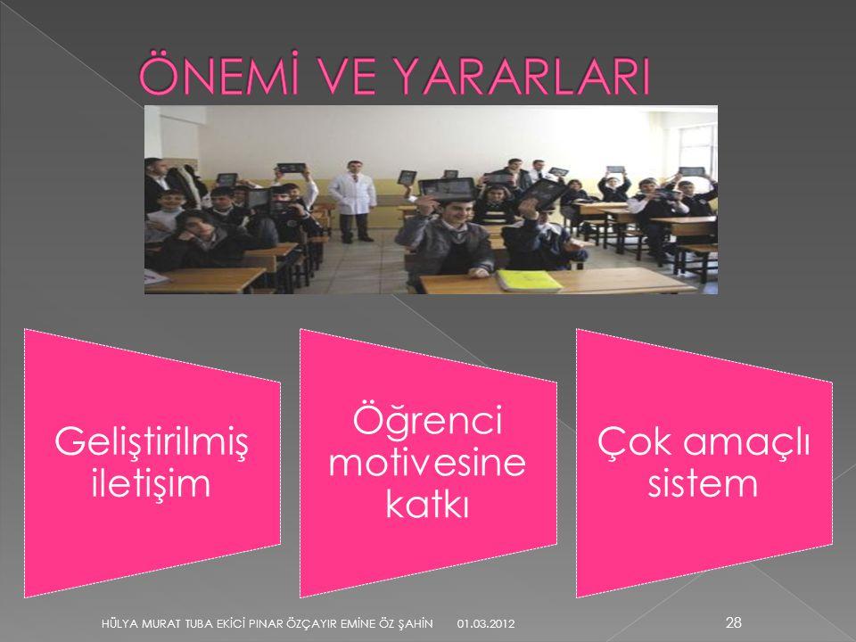 Geliştirilmiş iletişim Öğrenci motivesine katkı Çok amaçlı sistem 28 HÜLYA MURAT TUBA EKİCİ PINAR ÖZÇAYIR EMİNE ÖZ ŞAHİN 01.03.2012