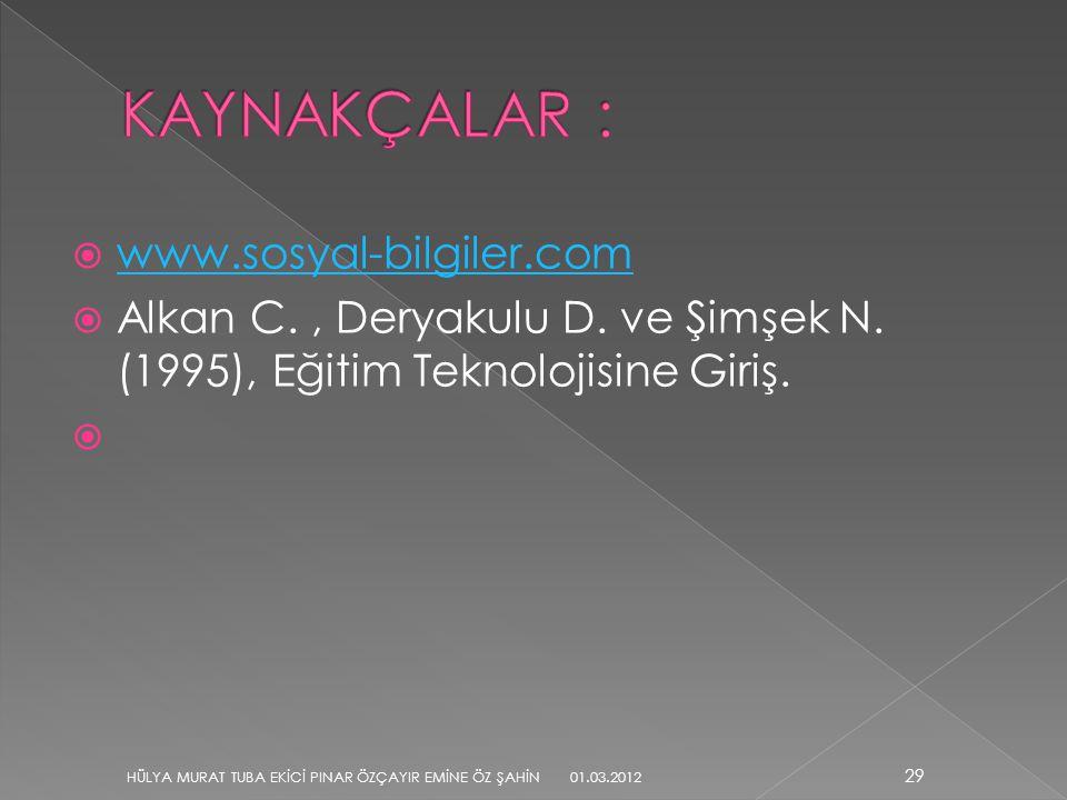  www.sosyal-bilgiler.com www.sosyal-bilgiler.com  Alkan C., Deryakulu D. ve Şimşek N. (1995), Eğitim Teknolojisine Giriş.  29 HÜLYA MURAT TUBA EKİC