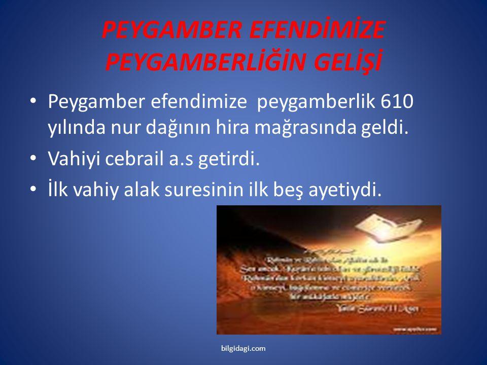 PEYGAMBER EFENDİMİZE PEYGAMBERLİĞİN GELİŞİ Peygamber efendimize peygamberlik 610 yılında nur dağının hira mağrasında geldi. Vahiyi cebrail a.s getirdi