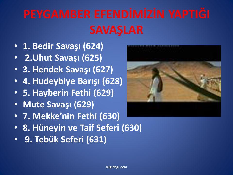 PEYGAMBER EFENDİMİZİN YAPTIĞI SAVAŞLAR 1. Bedir Savaşı (624) 2.Uhut Savaşı (625) 3. Hendek Savaşı (627) 4. Hudeybiye Barışı (628) 5. Hayberin Fethi (6