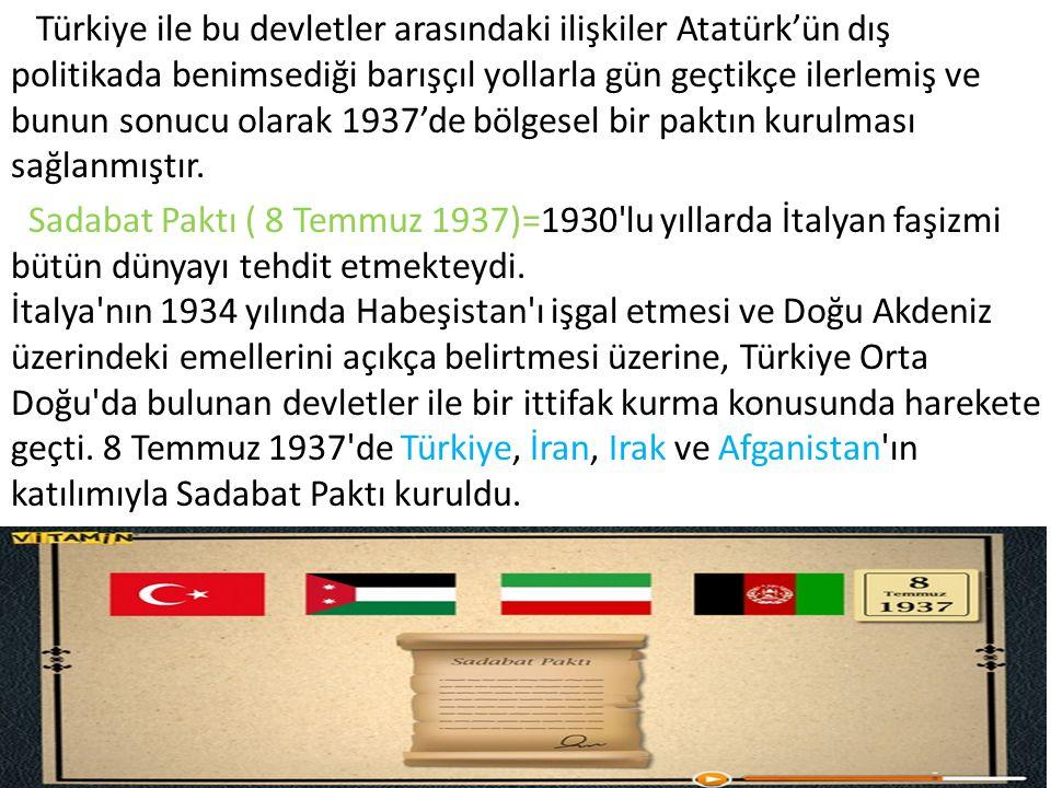 Türkiye ile bu devletler arasındaki ilişkiler Atatürk'ün dış politikada benimsediği barışçıl yollarla gün geçtikçe ilerlemiş ve bunun sonucu olarak 19