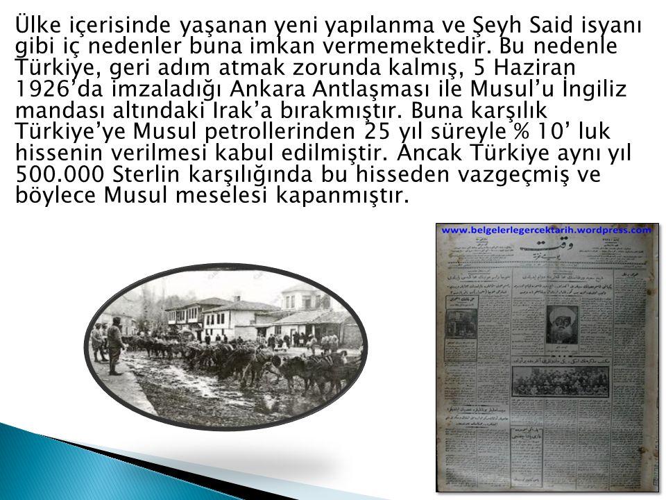 Ülke içerisinde yaşanan yeni yapılanma ve Şeyh Said isyanı gibi iç nedenler buna imkan vermemektedir. Bu nedenle Türkiye, geri adım atmak zorunda kalm
