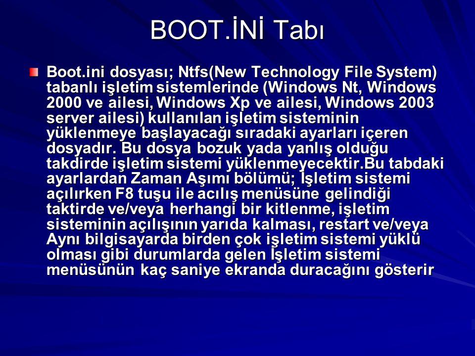 BOOT.İNİ Tabı Boot.ini dosyası; Ntfs(New Technology File System) tabanlı işletim sistemlerinde (Windows Nt, Windows 2000 ve ailesi, Windows Xp ve aile
