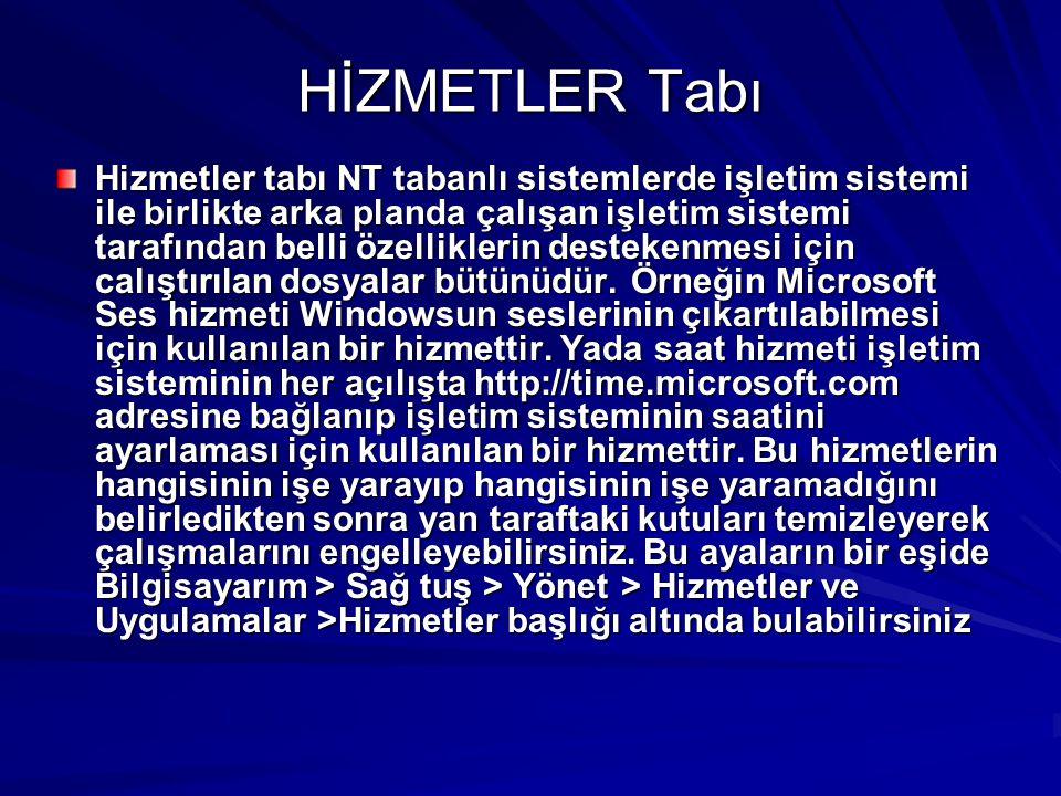 HİZMETLER Tabı Hizmetler tabı NT tabanlı sistemlerde işletim sistemi ile birlikte arka planda çalışan işletim sistemi tarafından belli özelliklerin de