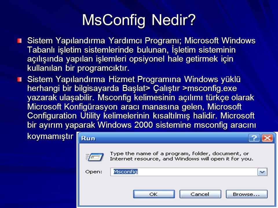 MsConfig Nedir? Sistem Yapılandırma Yardımcı Programı; Microsoft Windows Tabanlı işletim sistemlerinde bulunan, İşletim sisteminin açılışında yapılan