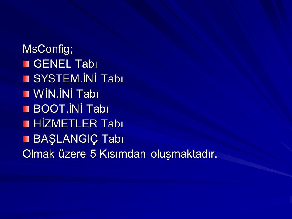 MsConfig; GENEL Tabı SYSTEM.İNİ Tabı WİN.İNİ Tabı BOOT.İNİ Tabı HİZMETLER Tabı BAŞLANGIÇ Tabı Olmak üzere 5 Kısımdan oluşmaktadır.
