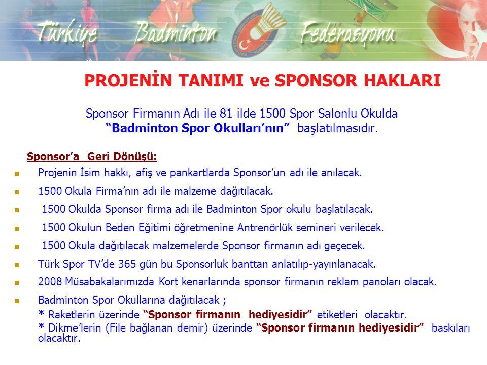 Projelerin Amaç ve Hedefleri 81 İlde Badmintonun tanınması ve yaygınlaştırılması.