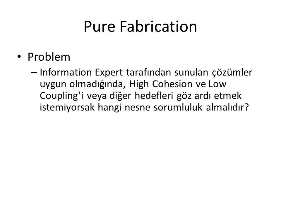 Pure Fabrication Problem – Information Expert tarafından sunulan çözümler uygun olmadığında, High Cohesion ve Low Coupling'i veya diğer hedefleri göz ardı etmek istemiyorsak hangi nesne sorumluluk almalıdır?