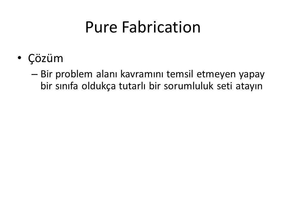 Pure Fabrication Çözüm – Bir problem alanı kavramını temsil etmeyen yapay bir sınıfa oldukça tutarlı bir sorumluluk seti atayın