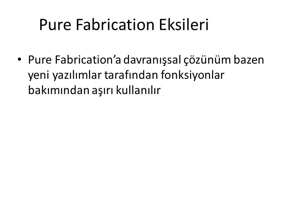 Pure Fabrication Eksileri Pure Fabrication'a davranışsal çözünüm bazen yeni yazılımlar tarafından fonksiyonlar bakımından aşırı kullanılır