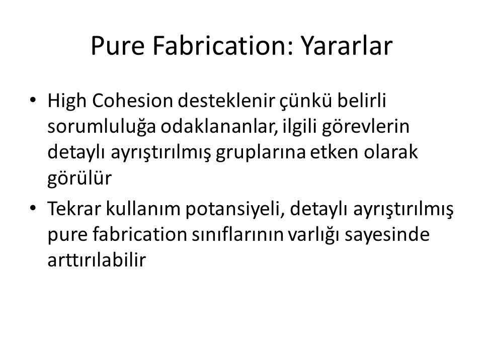 Pure Fabrication: Yararlar High Cohesion desteklenir çünkü belirli sorumluluğa odaklananlar, ilgili görevlerin detaylı ayrıştırılmış gruplarına etken olarak görülür Tekrar kullanım potansiyeli, detaylı ayrıştırılmış pure fabrication sınıflarının varlığı sayesinde arttırılabilir
