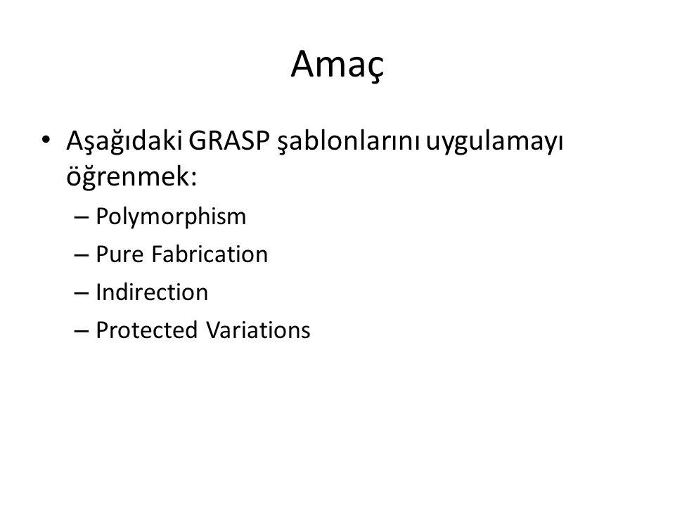 Amaç Aşağıdaki GRASP şablonlarını uygulamayı öğrenmek: – Polymorphism – Pure Fabrication – Indirection – Protected Variations