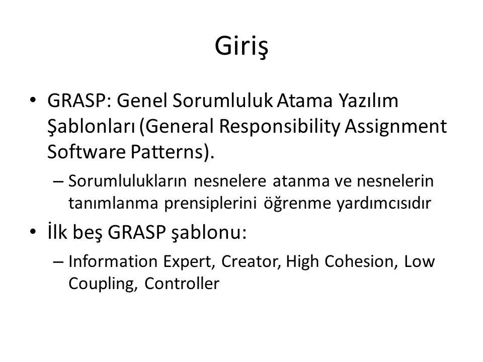Giriş GRASP: Genel Sorumluluk Atama Yazılım Şablonları (General Responsibility Assignment Software Patterns). – Sorumlulukların nesnelere atanma ve ne