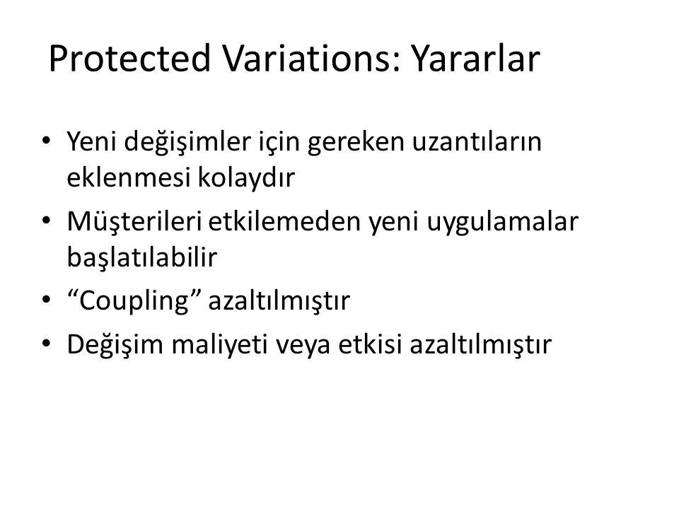 Protected Variations: Yararlar Yeni değişimler için gereken uzantıların eklenmesi kolaydır Müşterileri etkilemeden yeni uygulamalar başlatılabilir Coupling azaltılmıştır Değişim maliyeti veya etkisi azaltılmıştır