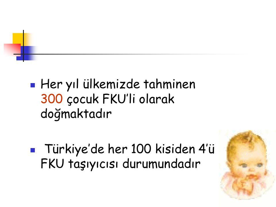 Her yıl ülkemizde tahminen 300 çocuk FKU'li olarak doğmaktadır Türkiye'de her 100 kisiden 4'ü FKU taşıyıcısı durumundadır