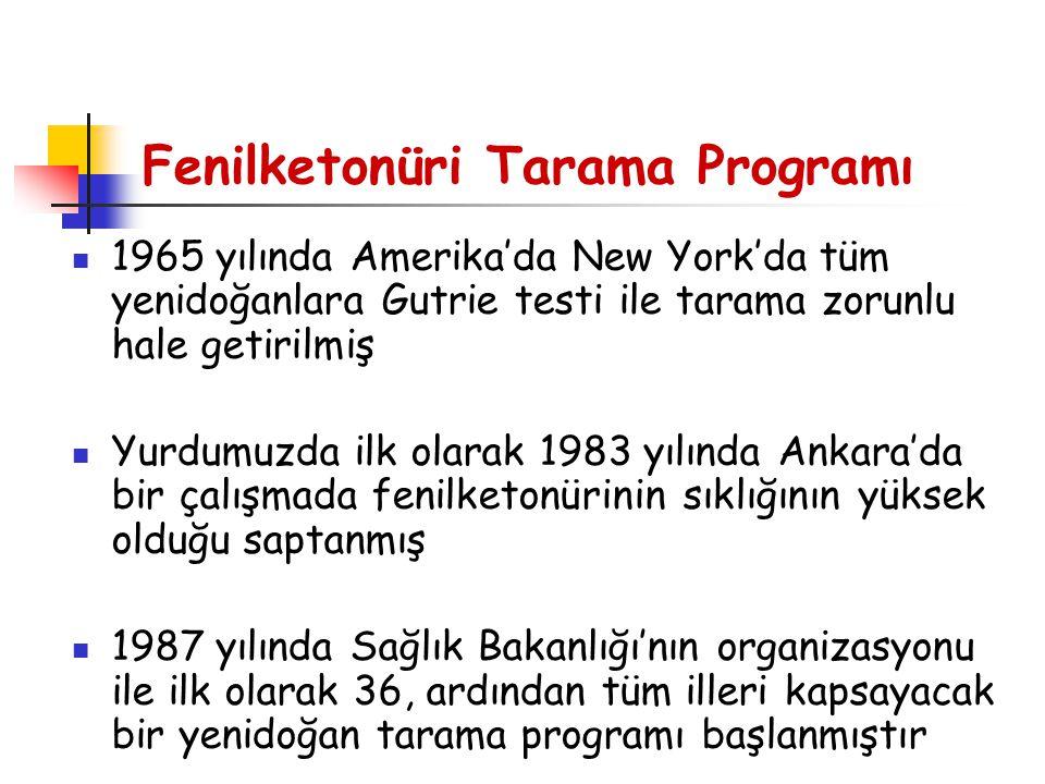 Fenilketonüri Tarama Programı 1965 yılında Amerika'da New York'da tüm yenidoğanlara Gutrie testi ile tarama zorunlu hale getirilmiş Yurdumuzda ilk ola