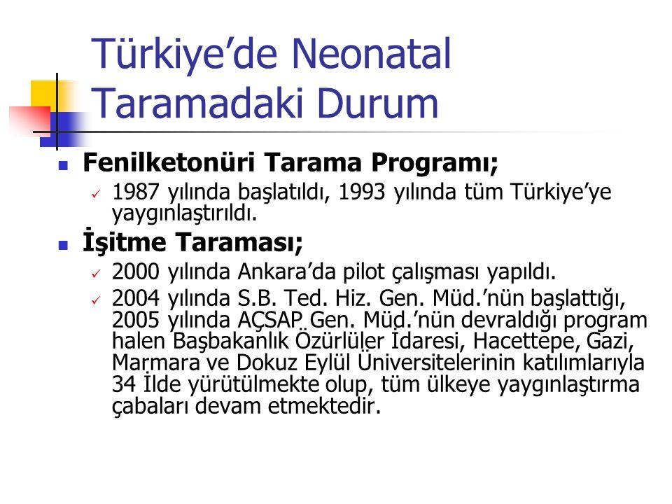 Türkiye'de Neonatal Taramadaki Durum Fenilketonüri Tarama Programı; 1987 yılında başlatıldı, 1993 yılında tüm Türkiye'ye yaygınlaştırıldı. İşitme Tara