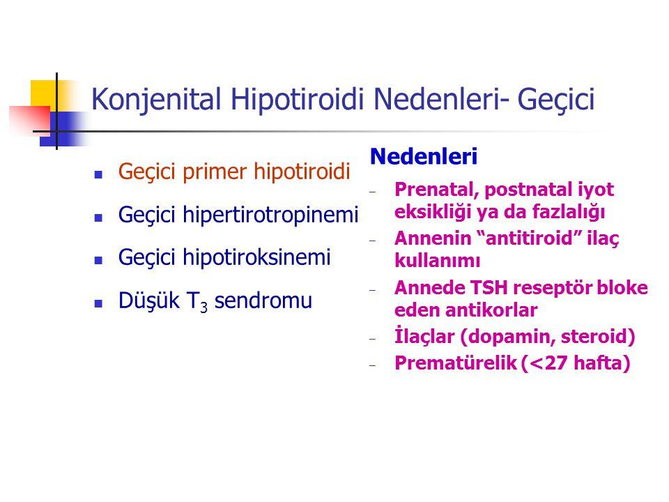 Konjenital Hipotiroidi Nedenleri- Geçici Geçici primer hipotiroidi Geçici hipertirotropinemi Geçici hipotiroksinemi Düşük T 3 sendromu Nedenleri – Pre