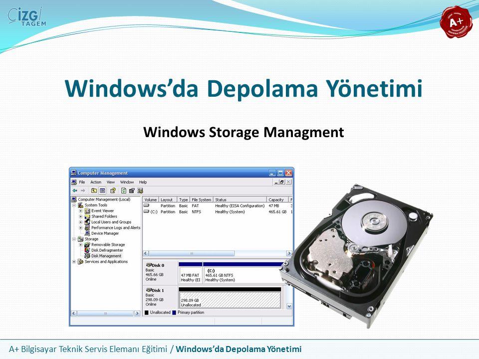 A+ Bilgisayar Teknik Servis Elemanı Eğitimi / Windows'da Depolama Yönetimi Genel Bakış Bu bölümde aşağıdakileri öğreneceksiniz Sabit disk bölmeleri Sabit disk biçimlendirmeleri Bölme ve biçimlendirme işlemleri Disk yönetimi Sorun giderme yöntemleri