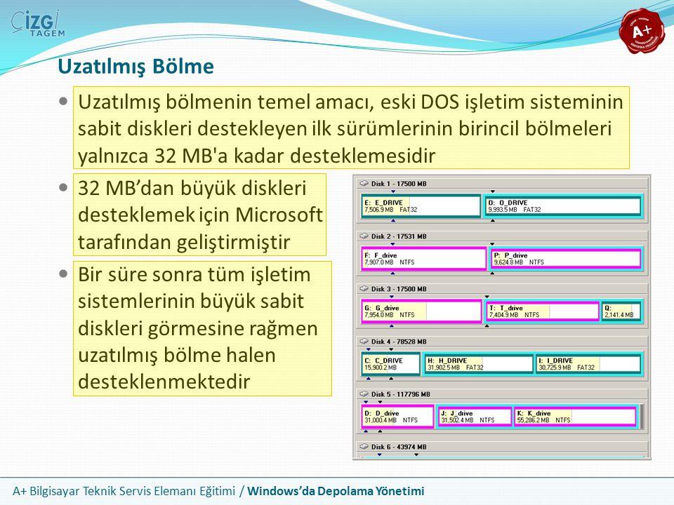 A+ Bilgisayar Teknik Servis Elemanı Eğitimi / Windows'da Depolama Yönetimi Windows 2000 sonrasında sunucu ve iş istasyonlarında desteklenen yeni bir tür bölümlendirme türüdür Dinamik diskler bölme (partition) kelimesini bırakıp onun yerine yığın (volume) terimini kullanmaktadır Windows tek bir yığın altında 32 sürücüyü birleştirebilir Dinamik diskler de bir MBR ve bölme tablosu kullanır; fakat bu sadece geriye yönelik uyumluluk içindir Disk hakkındaki tüm bilgi sabit diskin son 1 MB ını alan gizli bir bölmededir Dinamik Diskler