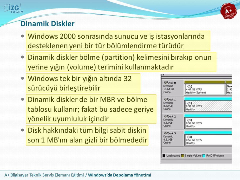 A+ Bilgisayar Teknik Servis Elemanı Eğitimi / Windows'da Depolama Yönetimi Dinamik Disk Yığınları Dinamik disklerle beş yığın türü kullanılabilir Basit (Simple), Karışlanmış (Spanned), RAID 0, RAID 1 ve RAID 5 Basit yığınlar daha çok birincil bölmeler gibi çalışır Bir sabit diskin yarısını C:, diğer yarısını D: yapmak istiyorsanız dinamik disk üzerinde basit şekilde iki yığın oluşturursunuz Yığın sayısında bir sınırlama yoktur Karışlanmış yığınlar tek bir yığın oluşturmak için çoklu sürücüler üzerinde paylaştırılmamış alan kullanır Bir miktar risklidir; eğer karışlanmış sürücülerden herhangi biri hata verirse tüm bölme kalıcı bir şekilde kaybolur RAID 0 sıralanmış, RAID 1 aynalanmış yığınlardır RAID 5 yığınları ise RAID 5 dizilimleri içindirler RAID 5 yığını eşit boyutta 3 veya daha fazla dinamik disk gerektirir