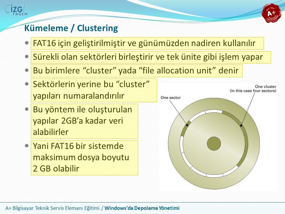 A+ Bilgisayar Teknik Servis Elemanı Eğitimi / Windows'da Depolama Yönetimi FAT16'da Dosya Kaydetme Adımları Windows FAT in başlangıç noktasından başlar ve ilk boş işaretli yeri; yani 0000 olarak işaretlenmiş ilk cluster'ı arar Eğer bütün dosya bir gruba sığıyorsa Windows FAT içerisindeki grubun durum alanına FFFF (son grup) kodunu yerleştirir Eğer dosya birden fazla cluster gerektiriyorsa, Windows sonraki açık cluster'ı arar ve tüm dosya kaydedilene kadar cluster'ları doldurur, durum alanına ise sonraki cluster numarasını yazar Son cluster ise dosya sonu kodunu olan FFFF kodunu alır Cluster aramada arızalı işaretine denk gelinir ise bu sektör / cluster atlanır