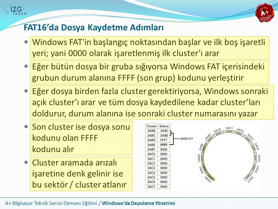 A+ Bilgisayar Teknik Servis Elemanı Eğitimi / Windows'da Depolama Yönetimi Klasörler Dosya, cluster'lara depolandıktan sonra klasörlere kaydedilir Windows, dosyayı barındıran klasöre gider ve klasör listesine dosya adını ve başlangıç cluster numarasını ekler mom.txt 19234 05-19-07 2:04p 3ABB Dosya adı, boyut, tarih/zaman ve başlangıç cluster numarası Klasörler de cluster'lar üzerinde depolanmıştır; fakat onlar disk üzerinde bir yerde farklı grup düzeni alırlar
