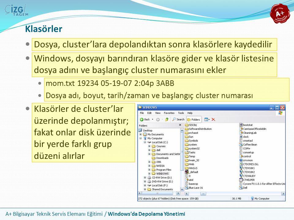 A+ Bilgisayar Teknik Servis Elemanı Eğitimi / Windows'da Depolama Yönetimi Klasörler Dosya, cluster'lara depolandıktan sonra klasörlere kaydedilir Win