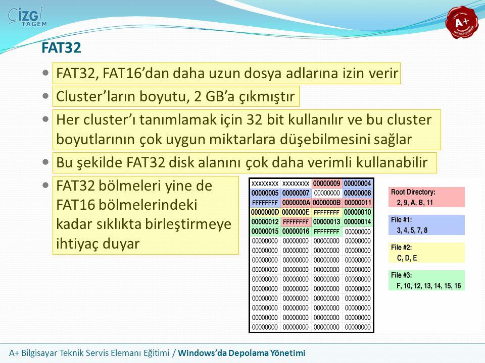 A+ Bilgisayar Teknik Servis Elemanı Eğitimi / Windows'da Depolama Yönetimi NTFS İlk olarak Windows NT sürümleri ile çıkmıştır FAT sistemlerine göre gelişmiş 4 önemli özelliği vardır Daha büyük disk ve dosya boyutlarına olanak verir Gelişmiş güvenlik ve denetim mekanizmaları sunar Daha hızlı yazma ve okuma süreçlerini mümkün kılar Sıkıştırma ve kota gibi gelişmiş özellikleri vardır 32 bitlik bir dosya sistemidir Dosya adlarında boşluklarla birlikte 255 karaktere olanak tanır