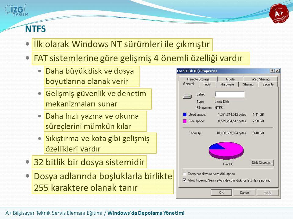A+ Bilgisayar Teknik Servis Elemanı Eğitimi / Windows'da Depolama Yönetimi NTFS Yapısı NTFS geliştirilmiş dosya ayırma tablosu kullanır Kısa adı MFT olan bu tablo, Master File Table yani yönetici dosya tablosu olarak adlandırılır NTFS bir diskin orta bölmesinde MFT nin çok önemli parçalarının bir yedek kopyasını barındırılır