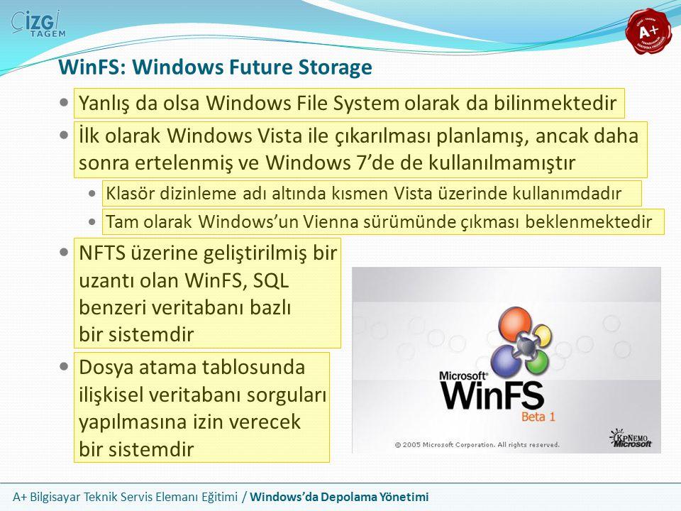 A+ Bilgisayar Teknik Servis Elemanı Eğitimi / Windows'da Depolama Yönetimi WinFS: Windows Future Storage Yanlış da olsa Windows File System olarak da