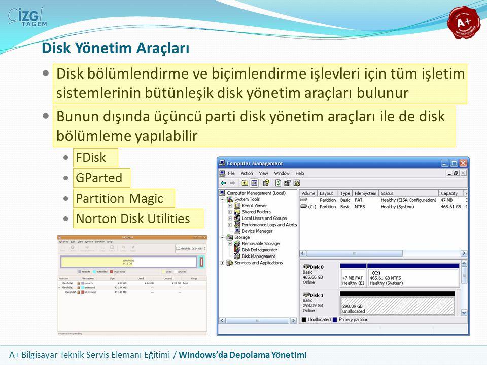 A+ Bilgisayar Teknik Servis Elemanı Eğitimi / Windows'da Depolama Yönetimi Disk İşlemleri ve Başlatılabilir Diskler Disk bölümlendirme ve biçimlendirme işlevlerini yapmanın en sağlıklı yeri, işletim sisteminin dışıdır Eğer kurulu bir işletim sistemi zaten yok ise, zorunlu olarak başlatılabilir bir sürücüye ve sürücü üzerinde disk yönetimini yapabileceğiniz bir yazılıma ihtiyacınız vardır Tüm işletim sistemi kurulum CD/DVD ortamları başlatılabilirdir Bunun dışında genellikle linux tabanlı olan ve içinde bir teknisyenin ihtiyaç duyabileceği temel yazılımların yer aldığı taşınabilir işletim sistemi CD veya DVD'leri de vardır Başlatılabilir bir ortam disket, CD, DVD veya flash bellek olabilir