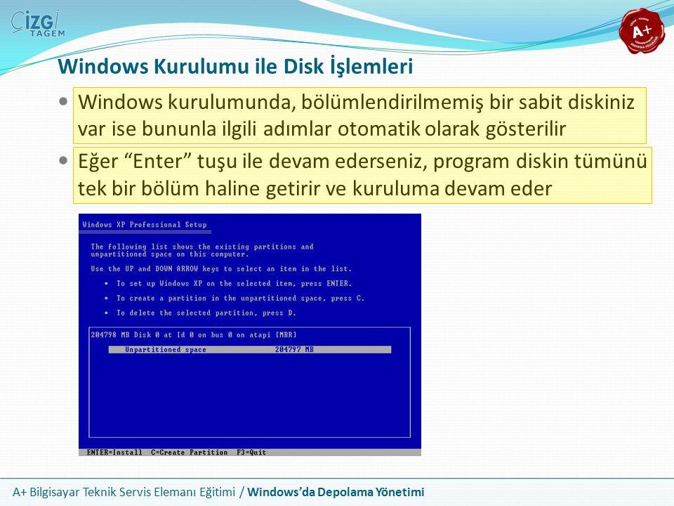 A+ Bilgisayar Teknik Servis Elemanı Eğitimi / Windows'da Depolama Yönetimi Windows Kurulumunda Elle Bölümleme Windows kurulumunda bölümlenmemiş bir alanın üzerinde iken C tuşuna basınız (Create) Oluşturmak istediğiniz bölmenin boyutunu girin ve Enter tuşuna basarak bölmeyi oluşturun Bu şekilde birden fazla bölme oluşturabilirsiniz