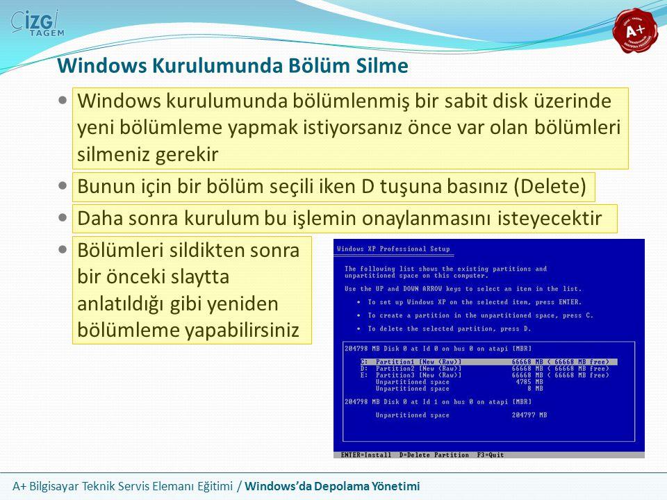 A+ Bilgisayar Teknik Servis Elemanı Eğitimi / Windows'da Depolama Yönetimi Windows Kurulumunda Bölümleme Ayarları Windows kurulumu bölümleme işleminde ayar olarak size sadece bölümlerin boyutunu sorar Bunun dışındaki tüm ayarları otomatik olarak gerçekleştirir Tüm sabit diskleri temel diskler yapar Daima ilk bölmeyi birincil bölüm yapar ve aktif olarak işaretler İlk bölmeye C: sürücü harfini atar Diğer bölmelerin donanımsal ayarları ve disk içindeki sıralarına göre sürücü harflerini sırayla otomatik olarak ayarlar