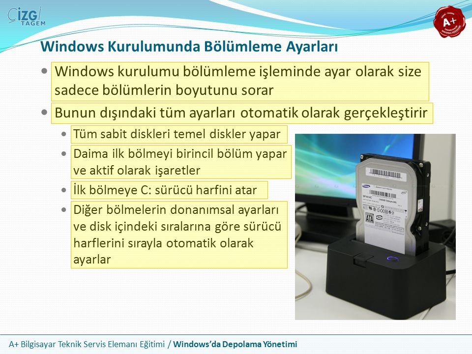 A+ Bilgisayar Teknik Servis Elemanı Eğitimi / Windows'da Depolama Yönetimi Windows Kurulumunda Biçimlendirme Kurulum programı, bölümlendirme işleminin arkasından, kurulumu yapacağınız bölümü biçimlendirmenizi ister Bunun için olası seçenekleri (FAT32 veya NFTS) hızlı ve normal biçimlendirme olmak üzere ikişer uygulama alternatifi ile sunar Normal biçimlendirmede dosyalar silinir ve bozuk kesim taraması yapılır Hızlı biçimlendirmede ise sadece atama tablosu silinir ve var olan dosyalar yok sayılır Normal biçimlendirme daha sağlıklı bir yoldur