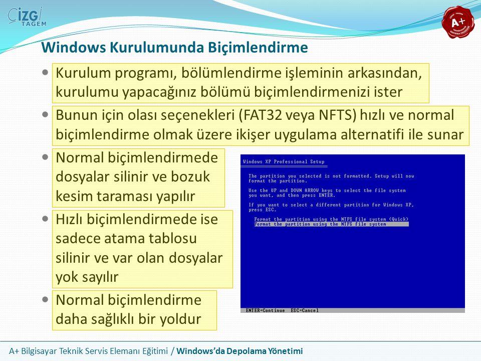 A+ Bilgisayar Teknik Servis Elemanı Eğitimi / Windows'da Depolama Yönetimi Windows Kurulumunda Biçimlendirme Kurulum programı, bölümlendirme işleminin