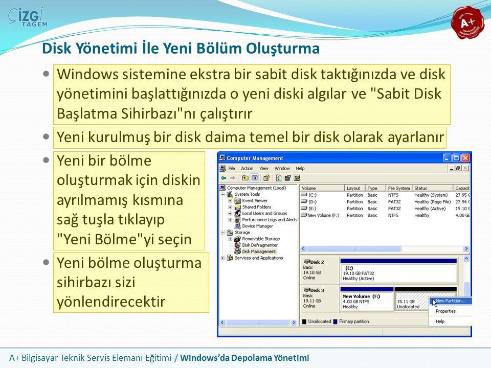 A+ Bilgisayar Teknik Servis Elemanı Eğitimi / Windows'da Depolama Yönetimi Disk Yönetimi Bölme Sihirbazı Yeni bölme sihirbazı olası oluşturulabilir alternatifleri sunar Sadece limitler arasında yer alan boyutu girmeniz yeterlidir Bölmenin ardından size biçimlendirme seçeneklerini sunar