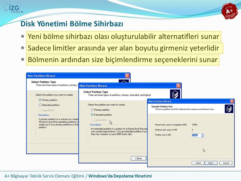 A+ Bilgisayar Teknik Servis Elemanı Eğitimi / Windows'da Depolama Yönetimi Disk Yönetimi İle Mantıksal Bölüm Oluşturma Eğer bir genişletilmiş bölüm oluşturursanız, bu bölümün üzerinde sağ tuşla tıklayarak bir önceki slaytta anlatıldığı gibi yeni bir mantıksal bölüm oluşturabilirsiniz